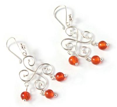 925 Sterling Silver And Carnelian Bead Chandelier Earrings