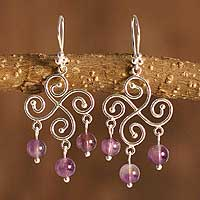 Amethyst chandelier earrings, 'Pinwheel' - Sterling Silver and Amethyst Earrings