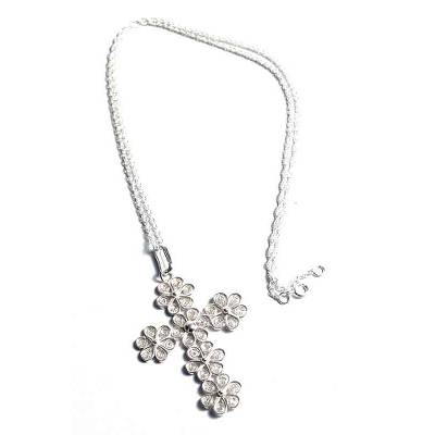 Artisan Crafted Fine Silver Filigree Cross Necklace