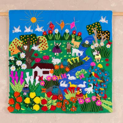 Applique wall hanging, 'A Spring Day' - Applique Wall Hanging Andean Folk Art