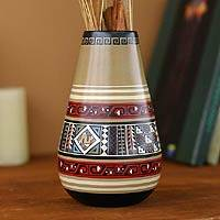 Cuzco ceramic vase, 'Inca Monastery' - Hand Painted Cuzco Ceramic Vase