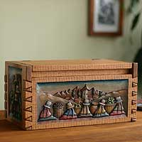 Cedar chest, 'Andean Village' - Hand Crafted Wood Decorative Carved Cedar Box Chest