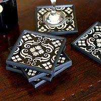 Painted glass coasters,