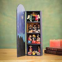 Wood retablo, 'Blue Nativity' - Handmade Wood Retablo Diorama Peruvian Folk Art