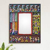 Mirror, 'Scenes from the Andes' - Folk Art Wood Mirror with Folk Art Scenes
