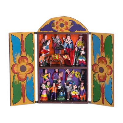 Folk Art Wood Retablo Sculpture from Peru