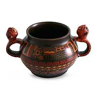 Aged Cuzco vessel, 'Jaguar Tribute' - Handcrafted Ceramic Jaguar Vessel from the Andes