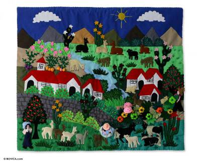 Andean Countryside Handmade Applique Folk Art Wall Hanging