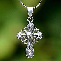 Silver filigree necklace, 'Antique Cross of Faith'
