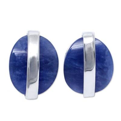 Modern Sterling Silver Sodalite Button Earrings from Peru