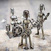 Auto part sculptures, 'Heavy Metal Band' (set of 3) - Auto part sculptures (Set of 3)