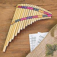 Bamboo panpipe, 'Andean Zampona' - Peruvian Bamboo Wind Panpipe with Case