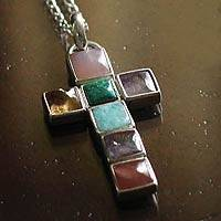 Opal and amethyst cross necklace, 'For All People' - Fine Silver and Opal Multigem Pendant Cross Necklace
