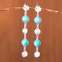 Amazonite dangle earrings, 'Amazon Rainfall' - Amazonite dangle earrings