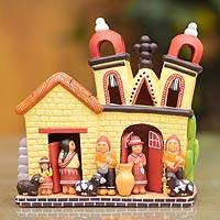 Ceramic nativity scene, 'Peru Village Church' - Ceramic nativity scene