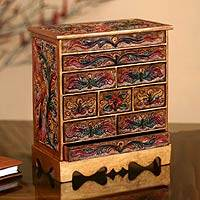 Wood and leather jewelry box, 'Happy Hummingbird' - Hand Made Colonial Leather and Wood Jewelry Box