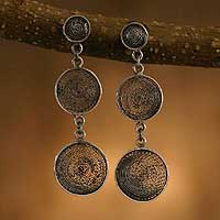 Silver filigree dangle earrings, 'Moon Shadows' - Silver filigree dangle earrings