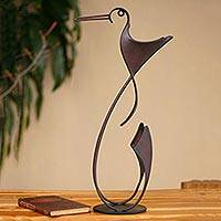 Steel statuette, 'Happy Hummingbird' - Handcrafted Metal Bird Original Steel Sculpture