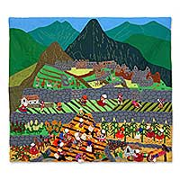 Cotton wall hanging, 'Machu Picchu Farmers' - Folk Art Cotton Wall Hanging
