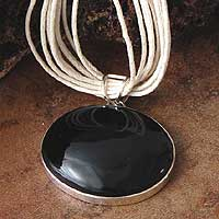 Obsidian pendant necklace, 'Storm' - Obsidian pendant necklace