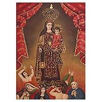 'Virgin of Mount Carmel' - Peruvian Colonial Replica Painting