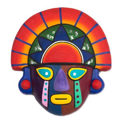 Collectible Ceramic Peruvian Clay Inca Mask