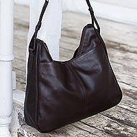 Leather shoulder bag, 'Generosity' - Dark Brown Leather Shoulder Bag
