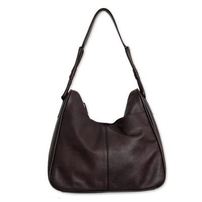Leather shoulder bag, 'Generosity' - Dark Brown Leather Shoulder Bag