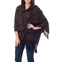 Alpaca blend reversible shawl, 'Russet Blossom' - Fair Trade Wool Blend Shawl from Peru