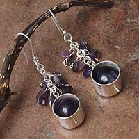 Amethyst dangle earrings, 'Lilac Mirror' - Amethyst dangle earrings