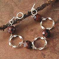 Mahogany obsidian link bracelet,