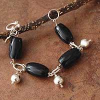 Obsidian beaded bracelet,