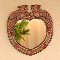 Mirror, 'Owls in Love' - Hand Carved Peruvian Mirror