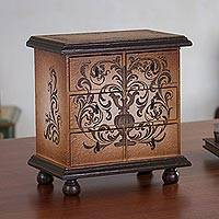 Jewelry chest, 'Illusion' - Hand Painted Wood Jewelry Box