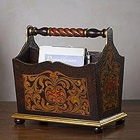 Magazine rack, 'Antique Style' - Handcrafted Peruvian Cedar Magazine Rack
