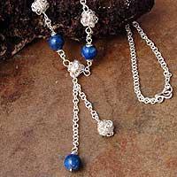 Lapis lazuli pendant necklace, 'Blue Pompoms' (Peru)