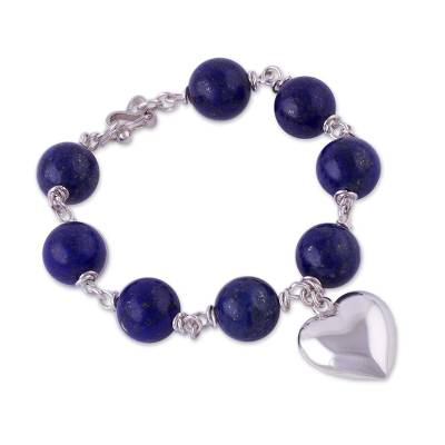 Heart Shaped Lapis Lazuli and Silver Bracelet