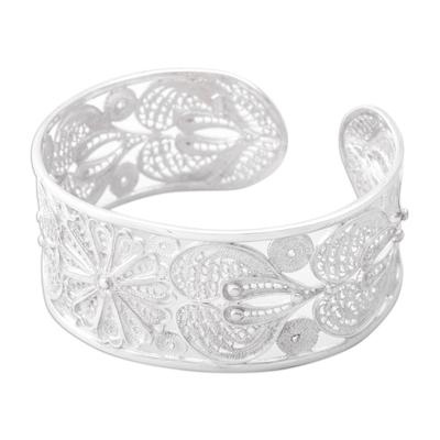 Silver filigree bracelet, 'Sunflower' - Fine Silver Floral Filigree Bracelet from Peru