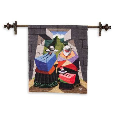 Wool tapestry, 'Three Generations' - Wool tapestry