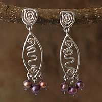 Pearl dangle earrings, 'Message in Violet' - Pearl dangle earrings