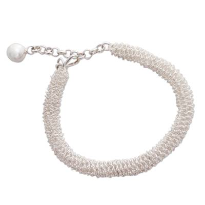Handcrafted Fine Silver Crocheted Chain Bracelet with Extender Chain