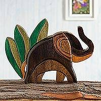 Ishpingo statuette, 'Elephant in Nature' - Handcrafted Abstract Wooden Elephant Sculpture