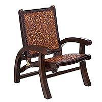 Wood and leather chair, 'Colonial Coffee' - Collectible Colonial Wood Leather Chair from Peru