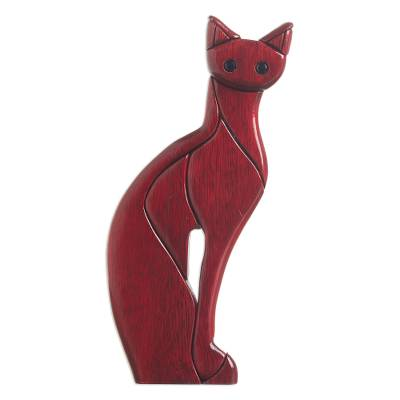 Ishpingo Wood Carved Cat Sculpture