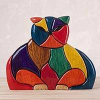 Ishpingo wood sculpture, 'Patchwork Cat' - Finely Crafted Wood Cat Sculpture