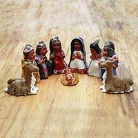 Ceramic nativity scene Inca Christmas set of 9 Peru
