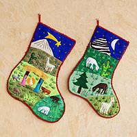 Applique Christmas stockings,