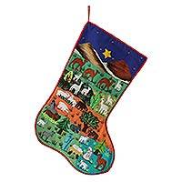 Applique Christmas stocking, 'Nativity Scene' - Applique Christmas stocking