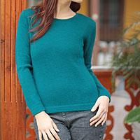 Alpaca blend sweater, 'Winter Teal' - Alpaca blend sweater