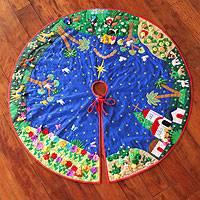 Applique Christmas tree skirt, 'Holy Night' - Applique Christmas tree skirt